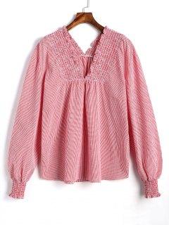Blusa De Cuadros A Cuadros Con Cuello En V De Smocked - Rosa L