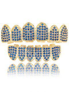 Rhinestone Bottom And Top Teeth Grillz Set - Blue