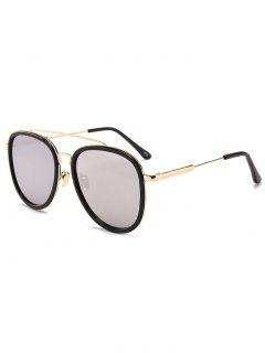 Anti- Fatigue Metal Full Frame Crossbar Pilot Sunglasses - Reflective White Color