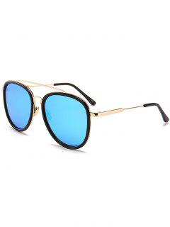 Anti- Fatigue Metal Full Frame Crossbar Pilot Sunglasses - Blue