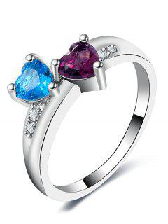 Valentine's Day Rhinestone Lover Heart Ring - Silver 8