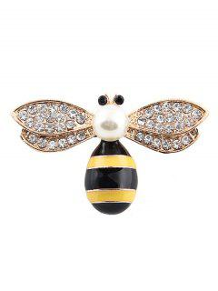 Cute Faux Pearl Rhinestone Honeybee Brooch - Golden
