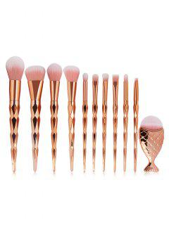 11Pcs Ultra Soft Synthetic Fiber Hair Makeup Brush Set - Rose Gold