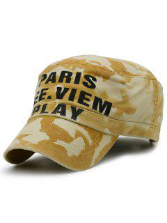 Camouflage Pattern Decorated Military Hat - Yellow