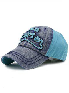 Line Embroidery Adjustable Denim Snapback Hat - Denim Blue