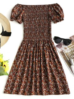 Smocked Tiny Floral Off Shoulder Mini Dress - Coffee M