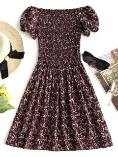 Smocked Tiny Floral Off Shoulder Mini Dress - Dark Red S