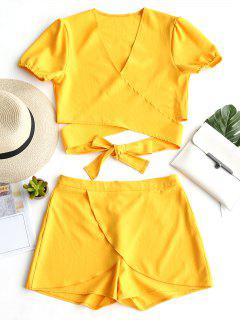 Plunge Crop Wrap Top And Shorts Set - Yellow L