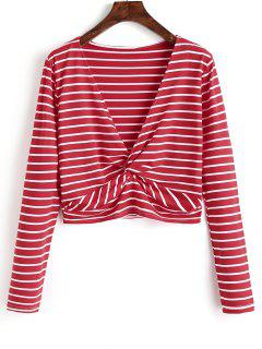 Twist Cropped Stripes Top - Red S
