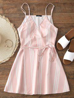 Slip Stripes Wrap Mini Dress - Pink S