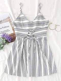 Lace Up Slip Stripes Mini Dress - White M