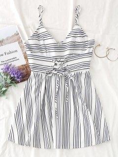 Mini Vestido De Encaje A Rayas - Blanco L