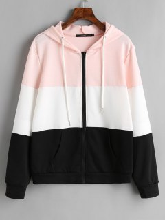 Drawstring Zip Up Color Block Hoodie - Black S