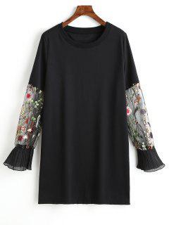 Vestido Casual Bordado Floral De Manga De Malla - Negro S