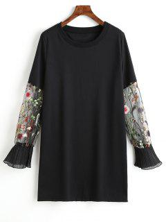 Mesh Sleeve Floral Embroidered Casual Dress - Black M