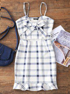 Cut Out Bowknot Plaid Mini Dress - White M