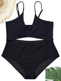 Cutout Plus Size Swimsuit - Black Xl