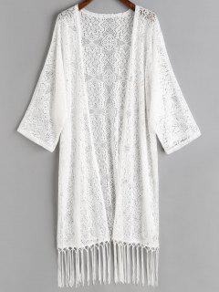 Tassels Crochet Kimono Cover Up - White