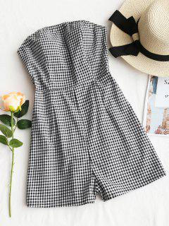 Tied Back Strapless Plaid Romper - Checked S