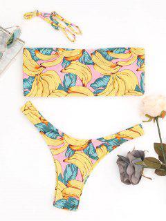 High Cut Banana Print Bandeau Bikini Set - Multicolor S