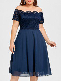 Vestido Con Panel De Encaje Con Hombros Descubiertos - Azul Purpúreo 3xl