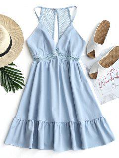 Lattice Eyelet Ruffle Mini Dress - Light Blue L