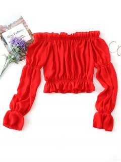 Ruffles Cropped Off Shoulder Blouse - Red M