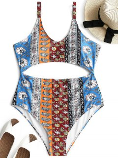 Cutout Printed Plus Size Swimsuit - Xl