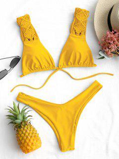 Riemchen Macrame High Cut Bikini Set - Gelb S