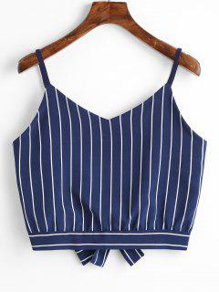 Bowknot Stripes Cut Out Cropped Tank Top - Cadetblue M
