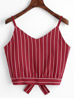 Camiseta Sin Mangas Cortadas Con Rayas Bowknot - Vino Rojo L