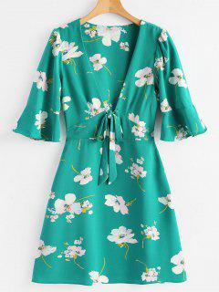 Plunging Neck Flare Sleeve Floral Dress - Sea Green L