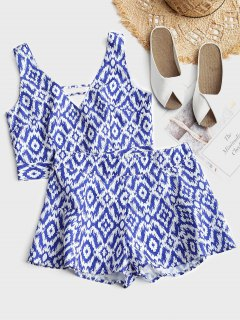 Cropped Printed Tied Top And High Waisted Shorts Set - White S