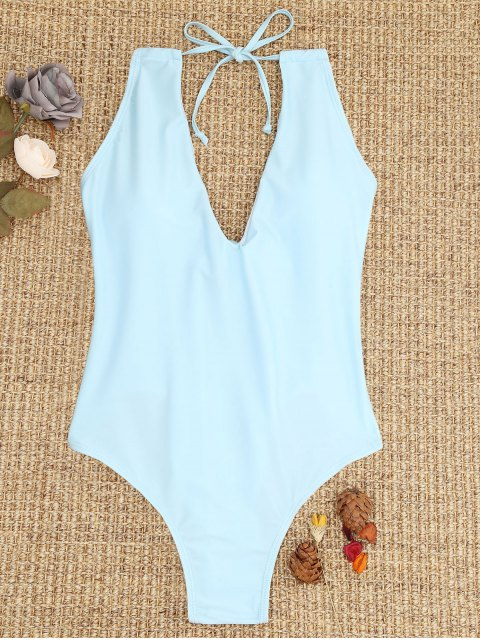 women's Ties Lace-up One Piece Swimsuit - LIGHT BLUE M Mobile