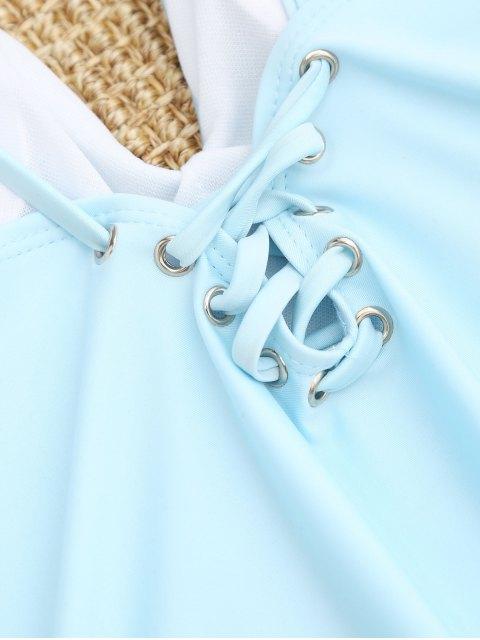 Traje de baño de una pieza con cordones - Azul Claro S Mobile