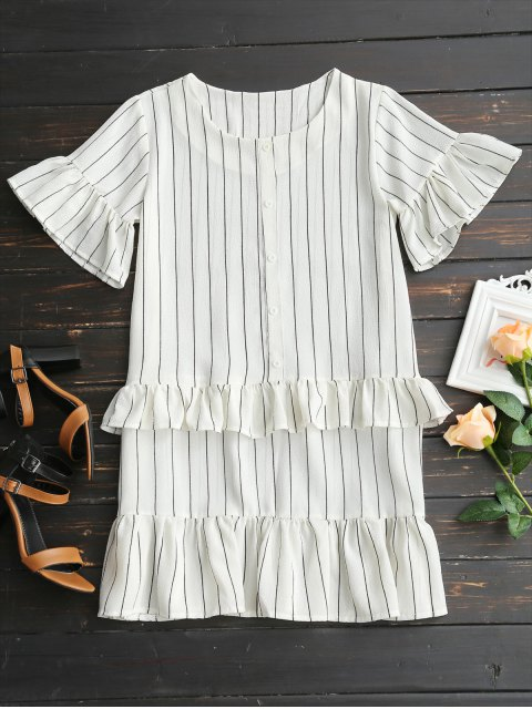 ladies Flare Sleeve Ruffles Striped Shift Dress - WHITE XL Mobile