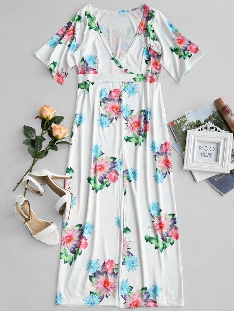 Robe à encolure plongeant et à imprimé floral - Floral XL Mobile