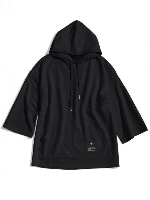 fashion Label Kangaroo Pocket Hoodie - BLACK 2XL Mobile