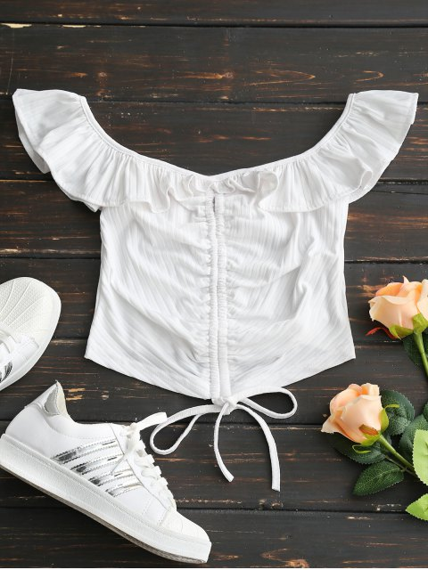 outfit Off Shoulder Ruffles Ruched Crop Tee - WHITE M Mobile