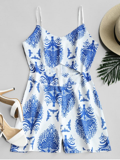 buy Cut Out Front Plant Print Cami Romper - BLUE L Mobile