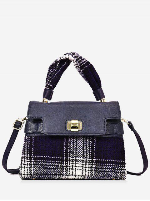 Plaid-Handtasche mit farbigem Karomuster und Riemen - Blau  Mobile