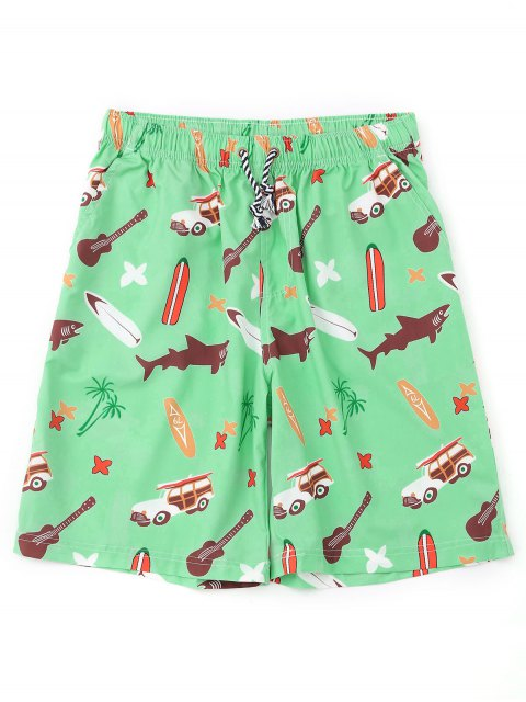 trendy Cartoon Print Board Shorts - APPLE GREEN M Mobile