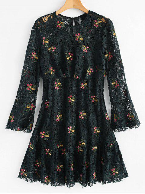 shop Flare Sleeve Flounce Floral Lace Dress - BLACKISH GREEN M Mobile
