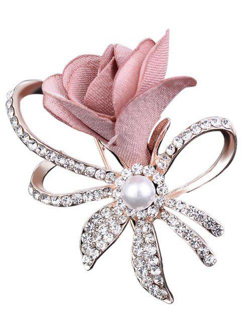 Broche adornado con incrustaciones de perlas de imitación de diamantes de imitación - Rosa Claro  Mobile