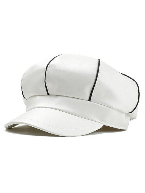 fancy Stripe Pattern Embellished Faux Leather Painter Hat - WHITE  Mobile