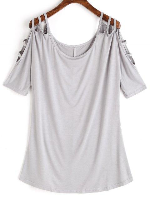 chic Scoop Ladder Cut T-shirt - LIGHT GRAY S Mobile