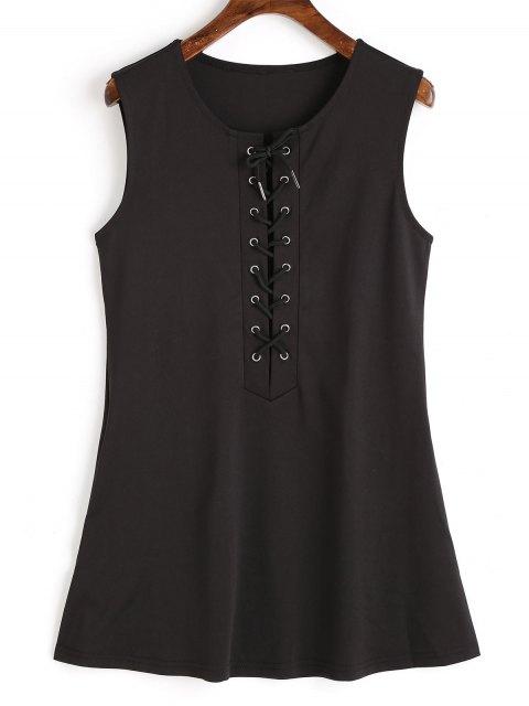 fancy Sleeveless Lace Up Mini Dress - BLACK L Mobile