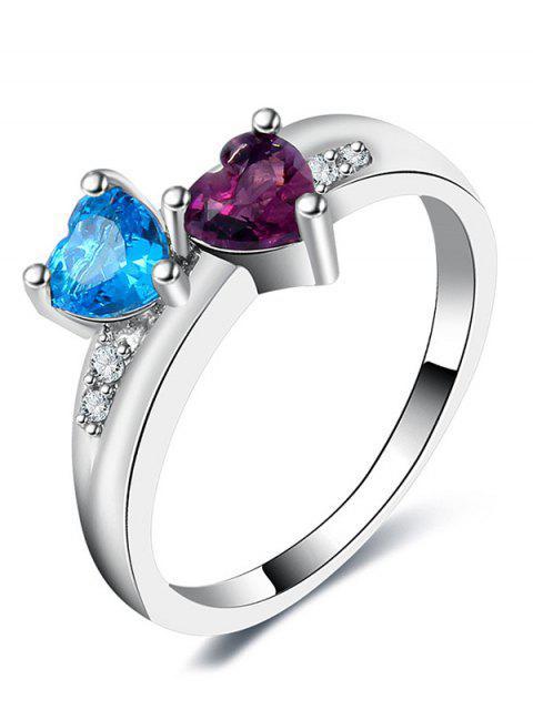 Valentinstag Strass Liebhaber Herz Ring - Silber 7 Mobile