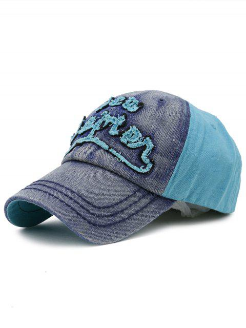 women Line Embroidery Adjustable Denim Baseball Hat - DENIM BLUE  Mobile