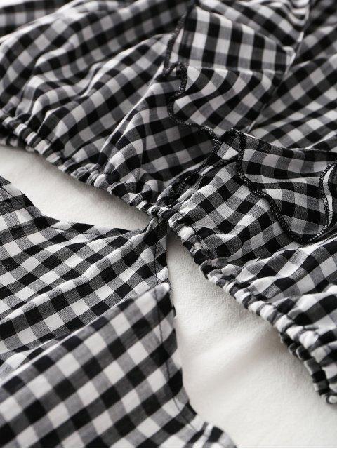 unique Long Sleeve Cut Out Plaid Midi Dress - CHECKED XL Mobile